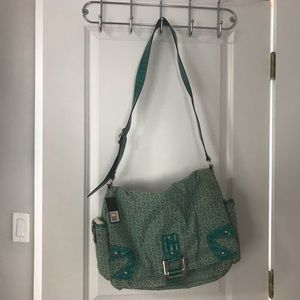 NEW GUESS teal laptop satchel